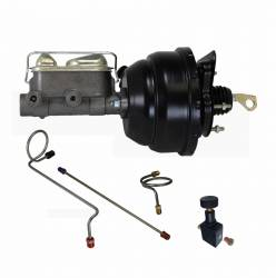 LEED Brakes - 8 inch Dual Diaphragm power brake booster, 1 inch bore master cylinder with Brake line kit and Adjustable Valve (Black)