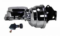 Power Brake Booster Kits - Power Brakes - Front Disc / Rear Drum Brakes - LEED Brakes - 8 inch Dual power booster , 1 inch Bore Flat Top master with Adjustable Valve (Chrome)