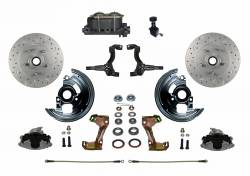 Front Disc Brake Conversion Kits - All Front Disc Brake Kits - LEED Brakes - Manual Front Disc Brake Conversion Kit Cross Drilled And Slotted with Cast Iron M/C Adjustable Proportioning Valve