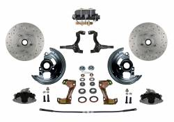 Front Disc Brake Conversion Kits - All Front Disc Brake Kits - LEED Brakes - Manual Front Disc Brake Conversion Kit Cross Drilled and Slotted Rotors with Cast Iron M/C Disc/Drum Bottom Mount