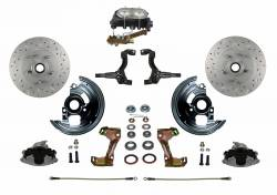 Front Disc Brake Conversion Kits - All Front Disc Brake Kits - LEED Brakes - Manual Front Disc Brake Conversion Kit Cross Drilled And Slotted with Cast Iron M/C Disc/Drum Side Mount