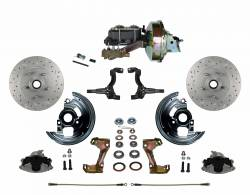 """Power Front Kits - Power Front Kit - Stock Ride Height - LEED Brakes - Power Front Disc Brake Conversion Kit Cross Drilled and Slotted Rotors with 9"""" Zinc Booster Cast Iron M/C Disc/Disc Side Mount"""