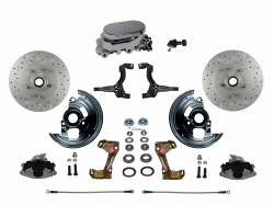 Front Disc Brake Conversion Kits - All Front Disc Brake Kits - LEED Brakes - Manual Front Disc Brake Conversion Kit Cross Drilled And Slotted with Chrome Aluminum Flat Top M/C Adjustable Proportioning Valve