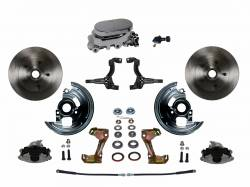 Front Disc Brake Conversion Kits - Manual Front Kits - LEED Brakes - Manual Front Disc Brake Conversion Kit with Chrome Aluminum Flat Top M/C Adjustable Proportioning Valve