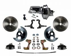 "Power Front Kit - Stock Ride Height - _Standard Kit - LEED Brakes - Power Front Disc Brake Conversion Kit with 9"" Chrome Booster Flat Top Chrome M/C Adjustable Proportioning Valve"