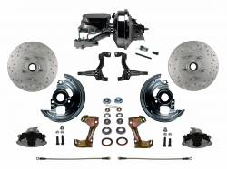 """Power Front Kits - Power Front Kit - Stock Ride Height - LEED Brakes - Power Front Disc Brake Conversion Kit Cross Drilled and Slotted Rotors with 9"""" Chrome Booster Flat Top Chrome M/C Disc/Drum Side Mount"""