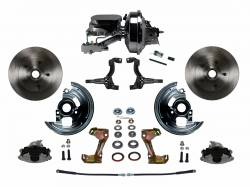 "Power Front Kit - Stock Ride Height - _Standard Kit - LEED Brakes - Power Front Disc Brake Conversion Kit with 9"" Chrome Booster Flat Top Chrome M/C Disc/Drum Side Mount"