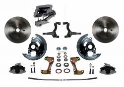 Front Disc Brake Conversion Kits - All Front Disc Brake Kits - LEED Brakes - Manual Front Disc Brake Conversion Kit with Chrome Aluminum Flat Top M/C Disc/Drum Side Mount