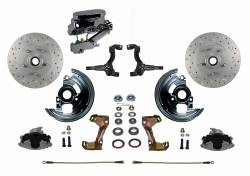 Front Disc Brake Conversion Kits - Manual Front Kits - LEED Brakes - Manual Front Disc Brake Conversion Kit Cross Drilled And Slotted with Chrome Aluminum Flat Top M/C Disc/Disc Side Mount