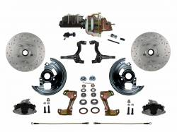 "Power Front Kit - Stock Ride Height - MaxGrip XDS Upgrade - LEED Brakes - Power Front Disc Brake Conversion Kit Cross Drilled and Slotted Rotors with 8"" Dual Zinc Booster Cast Iron M/C Adjustable Proportioning Valve"