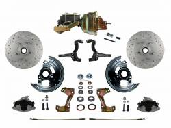 """Power Front Kits - Power Front Kit - Stock Ride Height - LEED Brakes - Power Front Disc Brake Conversion Kit Cross Drilled and Slotted Rotors with 8"""" Dual Zinc Booster Cast Iron M/C Disc/Drum Side Mount"""
