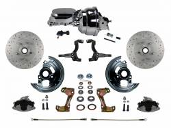 "Power Front Kit - Stock Ride Height - MaxGrip XDS Upgrade - LEED Brakes - Power Front Disc Brake Conversion Kit Cross Drilled and Slotted Rotors with 8"" Dual Chrome Booster Flat Top Chrome M/C Adjustable Proportioning Valve"