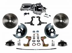 "Power Front Kit - Stock Ride Height - _Standard Kit - LEED Brakes - Power Front Disc Brake Conversion Kit with 8"" Dual Chrome Booster Flat Top Chrome M/C Adjustable Proportioning Valve"