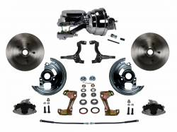 "Power Front Kit - Stock Ride Height - _Standard Kit - LEED Brakes - Power Front Disc Brake Conversion Kit with 8"" Dual Chrome Booster Flat Top Chrome M/C Disc/Disc Side Mount"