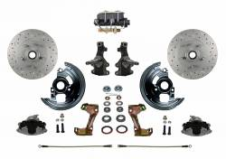 "Front Disc Brake Conversion Kits - All Front Disc Brake Kits - LEED Brakes - Manual Front Disc Brake Conversion Kit 2"" Drop Spindle Cross Drilled and Slotted Rotors with Cast Iron M/C Disc/Drum Bottom Mount"