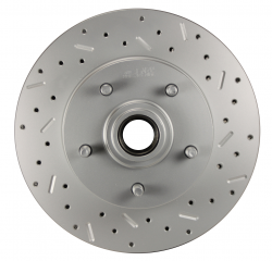 """LEED Brakes - Power Front Disc Brake Conversion Kit 2"""" Drop Spindle Cross Drilled and Slotted Rotors with 9"""" Zinc Booster Cast Iron M/C Disc/Disc Side Mount - Image 2"""