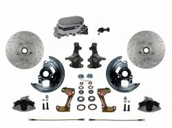 "Front Disc Brake Conversion Kits - Manual Front Kits - LEED Brakes - Manual Front Disc Brake Conversion 2"" Drop Spindle Cross Drilled And Slotted with Chrome Aluminum Flat Top M/C Adjustable Proportioning Valve"