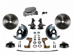 "Front Disc Brake Conversion Kits - All Front Disc Brake Kits - LEED Brakes - Manual Front Disc Brake Conversion 2"" Drop Spindle with Chrome Aluminum Flat Top M/C Adjustable Proportioning Valve"