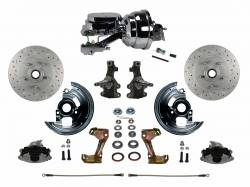 "Front Disc Brake Conversion Kits - Power Front Kits - LEED Brakes - Power Front Disc Brake Conversion Kit 2"" Drop Spindle Cross Drilled and Slotted Rotors with 8"" Dual Chrome Booster Flat Top Chrome M/C Disc/Drum Side Mount"