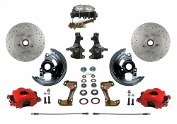 "Front Disc Brake Conversion Kits - LEED Brakes - Manual Front Disc Brake Kit 2"" Drop Spindle Drilled And Slotted Rotors Red Powder Coated Calipers Cast Iron M/C Disc/Drum"