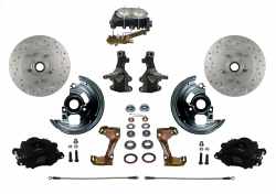 "Front Disc Brake Conversion Kits - LEED Brakes - Manual Front Disc Brake Kit 2"" Drop Spindle Drilled And Slotted Rotors Black Powder Coated Calipers Cast Iron M/C Disc/Drum"