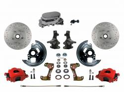 "LEED Brakes - Manual Front Disc Brake Kit 2"" Drop Spindle Drilled And Slotted Rotors Red Powder Coated Calipers with Chrome M/C Adjustable Proportioning Valve"