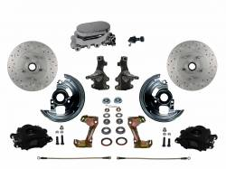 "LEED Brakes - Manual Front Disc Brake Kit 2"" Drop Spindle Drilled And Slotted Rotors Black Powder Coated Calipers with Chrome M/C Adjustable Proportioning Valve"