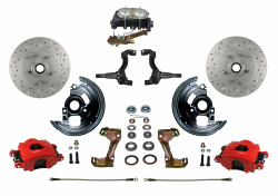 Manual Front Kits - Manual Front Kit - Stock Ride Height - LEED Brakes - Manual Front Disc Brake Kit Drilled And Slotted Rotors, Red Powder Coated Calipers Disc/Drum Side Mount