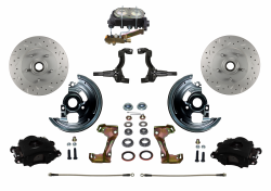 Manual Front Kits - Manual Front Kit - Stock Ride Height - LEED Brakes - Manual Front Disc Brake Kit Drilled And Slotted Rotors, Black Powder Coated Calipers Disc/Drum Side Mount