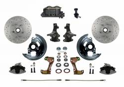 "Front Disc Brake Conversion Kits - Manual Front Kits - LEED Brakes - Manual Front Disc Brake Conversion 2"" Drop Spindle Cross Drilled and Slotted Rotors with Cast Iron M/C Adjustable Proportioning Valve"