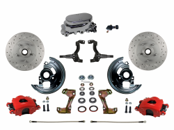 LEED Brakes - Manual Front Disc Brake Kit Drilled And Slotted Rotors, Red Powder Coated Calipers with Chrome M/C Adjustable Proportioning Valve