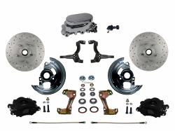 Manual Front Kits - Manual Front Kit - Stock Ride Height - LEED Brakes - Manual Front Disc Brake Kit Drilled And Slotted Rotors, Black Powder Coated Calipers with Chrome M/C Adjustable Proportioning Valve