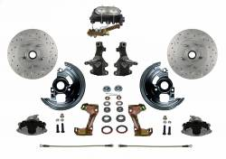 "Front Disc Brake Conversion Kits - All Front Disc Brake Kits - LEED Brakes - Manual Front Disc Brake Conversion 2"" Drop Spindle Cross Drilled and Slotted Rotors with Cast Iron M/C 4 Wheel Disc Side Mount"