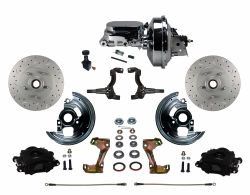"LEED Brakes - Power Front Disc Brake Kit Drilled and Slotted Rotors, Black Powder Coated Calipers with 9"" Chrome Booster, Chrome M/C Adjustable Proportioning Valve - Image 1"