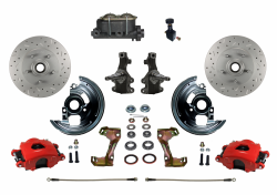 "Front Disc Brake Conversion Kits - LEED Brakes - Manual Front Disc Brake Kit 2"" Drop Spindle Drilled and Slotted Rotors  Red Powder Coated Calipers Cast Iron M/C Adjustable Proportioning Valve"