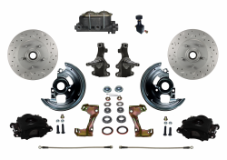"Front Disc Brake Conversion Kits - LEED Brakes - Manual Front Disc Brake Kit 2"" Drop Spindle Drilled and Slotted Rotors  Black Powder Coated Calipers Cast Iron M/C Adjustable Proportioning Valve"