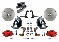 Manual Front Kits - Manual Front Kit - Stock Ride Height - LEED Brakes - Manual Front Disc Brake Kit Drilled And Slotted Rotors with Red Powder Coated Calipers Disc/Drum