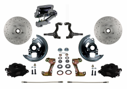 Manual Front Kits - Manual Front Kit - Stock Ride Height - LEED Brakes - Manual Front Disc Brake Kit Drilled And Slotted Rotors with Black Powder Coated Calipers Disc/Drum