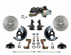 "Front Disc Brake Conversion Kits - Power Front Kits - LEED Brakes - Power Front Disc Brake Conversion Kit 2"" Drop Spindle Cross Drilled and Slotted Rotors with 9"" Zinc Booster Cast Iron M/C Disc/Drum Side Mount"