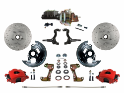 "Front Disc Brake Conversion Kits - Power Front Kits - LEED Brakes - Power Front Disc Brake Brake Kit Drilled and Slotted Rotors Red Powder Coated Calipers with 8"" Dual Booster Adjustable Proportioning Valve"