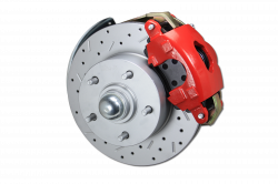 "LEED Brakes - Power Front Disc Brake Brake Kit Drilled and Slotted Rotors Red Powder Coated Calipers with 8"" Dual Booster Adjustable Proportioning Valve - Image 2"