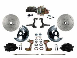 "LEED Brakes - Power Front Disc Brake Brake Kit Drilled and Slotted Rotors Black Powder Coated Calipers with 8"" Dual Booster Adjustable Proportioning Valve"