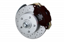 "LEED Brakes - Power Front Disc Brake Brake Kit Drilled and Slotted Rotors Black Powder Coated Calipers with 8"" Dual Booster Adjustable Proportioning Valve - Image 2"