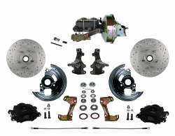 "Power Front Kits - Power Front Kit - 2"" Drop Spindles - LEED Brakes - Power Front Disc Brake Kit 2"" Drop Spindle Cross Drilled and Slotted Rotors Black Powder Coated Calipers 9"" Booster 4 Wheel Disc"