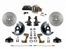 "Front Disc Brake Conversion Kits - Power Front Kits - LEED Brakes - Power Front Disc Brake Conversion Kit 2"" Drop Spindle Cross Drilled and Slotted Rotors with 8"" Dual Zinc Booster Cast Iron M/C Adjustable Proportioning Valve"