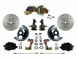 "Power Front Kits - Power Front Kit - 2"" Drop Spindles - LEED Brakes - Power Front Disc Brake Kit 2"" Drop Spindle Drilled and Slotted Rotors Black Powder Coated Calipers 8"" Dual Booster 4 Wheel Disc"