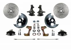 "Front Disc Brake Conversion Kits - LEED Brakes - Spindle Mount Kit With 2"" Drop Spindle and Cross Drilled and Slotted Rotors"