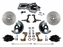 "Power Front Kits - Power Front Kit - Stock Ride Height - LEED Brakes - Power Front Disc Brake Kit Drilled and Slotted Rotors Black Powder Coated Calipers with 8"" Dual Booster & Adjustable Proportioning Valve"