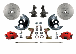 "Front Disc Brake Conversion Kits - LEED Brakes - Spindle Mount Kit With 2"" Drop Spindle Drilled and Slotted Rotors Red Powder Coated Calipers"