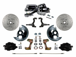 "Power Front Kits - Power Front Kit - Stock Ride Height - LEED Brakes - Power Front Disc Brake Kit Drilled and Slotted Rotors Black Powder Coated Calipers with 8"" Dual Chrome Booster Disc/Disc"